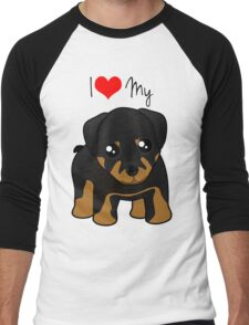 Cute Little Rottweiler Puppy Dog Men's Baseball ¾ T-Shirt