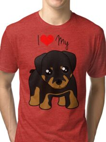 Cute Little Rottweiler Puppy Dog Tri-blend T-Shirt