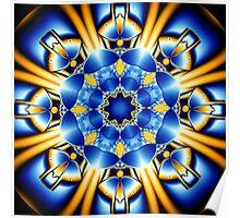 Sun dance of the Blue Butterflies, fractal kaleidoscope art Poster