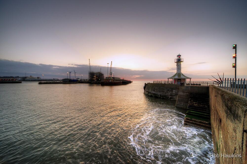 Lowestoft Harbour at dawn by Rob Hawkins