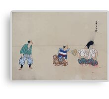Kyōgen play with three characters one wearing a large hat and a disk over his nose 001 Canvas Print