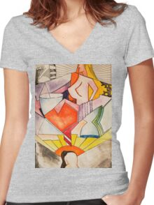 art, gonzo, abstraction Women's Fitted V-Neck T-Shirt