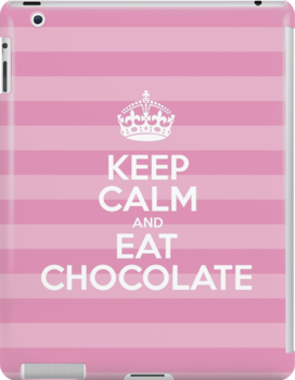 Keep Calm and Eat Chocolate - Pink Stripes by sitnica