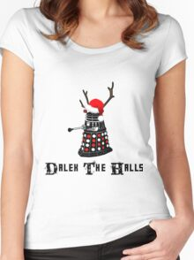 Dalek The Halls - Reindeer dalek santa Women's Fitted Scoop T-Shirt