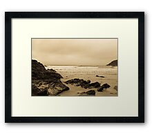 Antique tinted Cornish costal view Framed Print