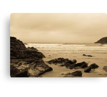 Antique tinted Cornish costal view Canvas Print