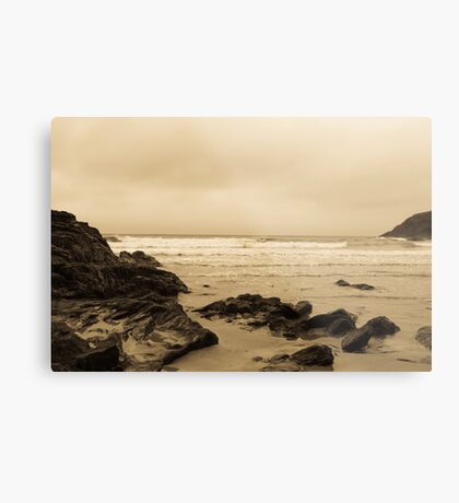 Antique tinted Cornish costal view Metal Print