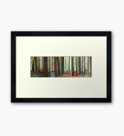 Embroidered Forest, mixed media and zentangles Framed Print
