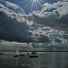 Sun star and boats by Kelly Eaton