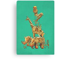 The Clockwork Menagerie (Teal) Canvas Print
