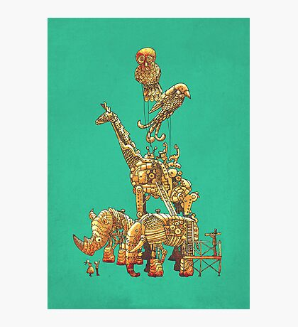 The Clockwork Menagerie (Teal) Photographic Print