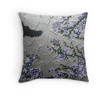 purple blossom with bird and textured silver background Throw Pillow