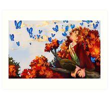 Bilbo and Butterflies Art Print