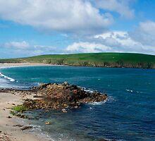 Tombolo and St Ninians Island, Shetland by highhopes2