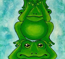 Three Wise Frogs by Lisa Frances Judd~QuirkyHappyArt