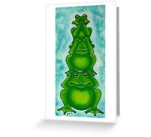 Three Wise Frogs Greeting Card