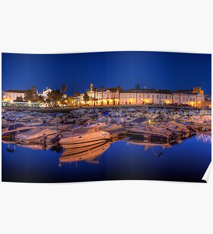 Faro Marina at Night Poster