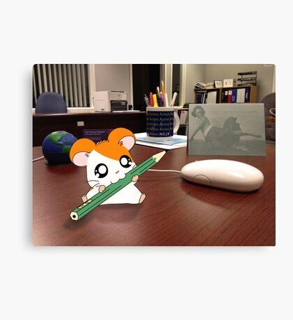 Hamtaro on my desk Canvas Print