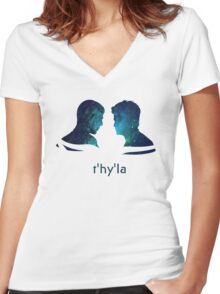 t'hy'la Women's Fitted V-Neck T-Shirt