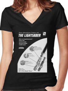 Star Wars Lightsaber Retro Ad Women's Fitted V-Neck T-Shirt