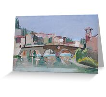Roman Bridge, Verona Greeting Card