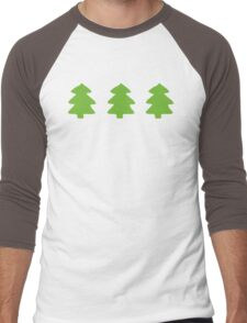 Green Christmas Trees Pattern Men's Baseball ¾ T-Shirt