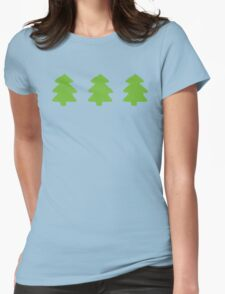 Green Christmas Trees Pattern Womens Fitted T-Shirt