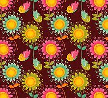 Brown Floral Pattern by rusanovska