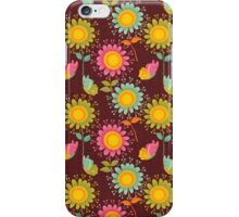 Brown Floral Pattern iPhone Case/Skin