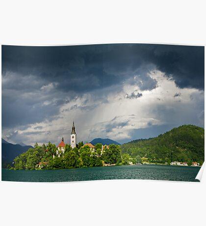 Storm light over Lake Bled Poster