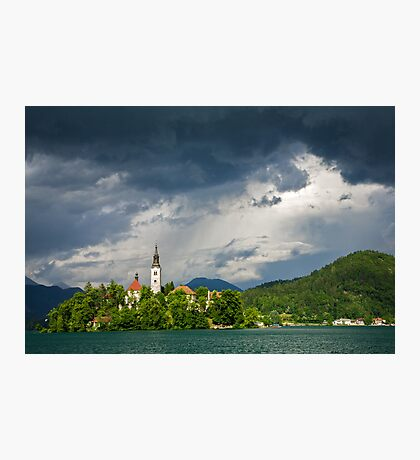 Storm light over Lake Bled Photographic Print