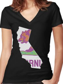 California State Outline [ Purp Green ] | SteezeFSC Women's Fitted V-Neck T-Shirt