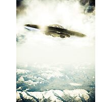 UFO Over Mountains Photographic Print