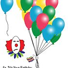 Sarcastic Clown Birthday Card by Greeting Card Design by Ash