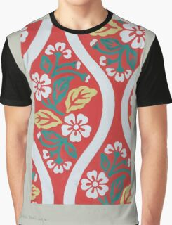 Nishiki brocade with cherry blossoms and wave designs on red background 001 Graphic T-Shirt
