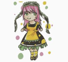 Pink Haired Chibi Maid Baby Tee