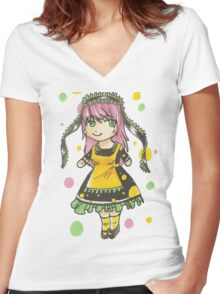 Pink Haired Chibi Maid Women's Fitted V-Neck T-Shirt