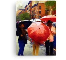 Red Umbrellas in the Rain Canvas Print