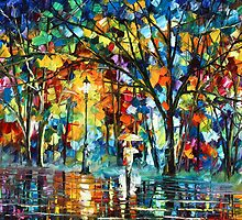 Night  Walk — Oil painting on Canvas By Leonid Afremov by Leonid  Afremov