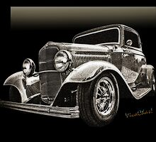 32 Ford Coupe Sketch of a Classic Street Rod by ChasSinklier