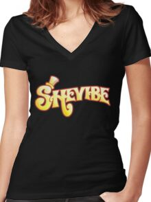 SheVibe Logo - Wonka Style Women's Fitted V-Neck T-Shirt