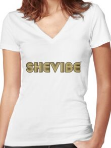 SheVbe 70's Retro Logo Women's Fitted V-Neck T-Shirt