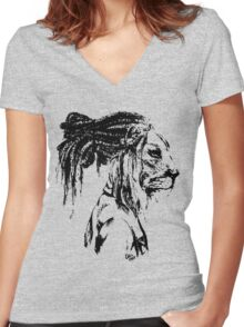 The Lion Man Women's Fitted V-Neck T-Shirt