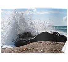 Individual wave and a rock Poster