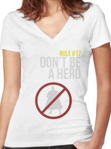 Zombie Survival Guide - Rule #17: Don't Be A Hero Women's Fitted V-Neck T-Shirt