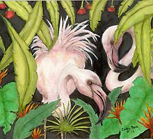 Flamingo Booty Tropical Bird Art Cathy Peek by Cathy Peek