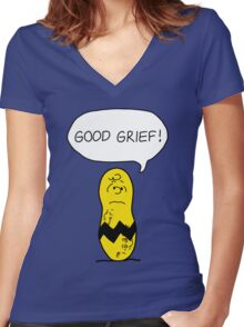 GOOD GRIEF! Women's Fitted V-Neck T-Shirt