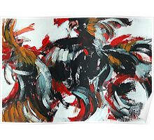 Fight and Flight - Rooster semi abstract painting Poster