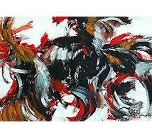 Fight and Flight - Rooster semi abstract painting Photographic Print