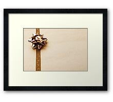 Gift Wrapped Vintage Bow and Ribbon on Plain Paper Framed Print